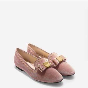 Cole Hana Tali Velvet Bow Loafer Pink Nude